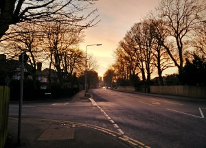 Wragby Road as sunset approaches in February