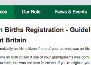 Irish Foreign Birth Registration